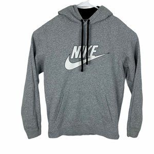 Nike Sweatshirt Hoodie Medium Gray Front Logo